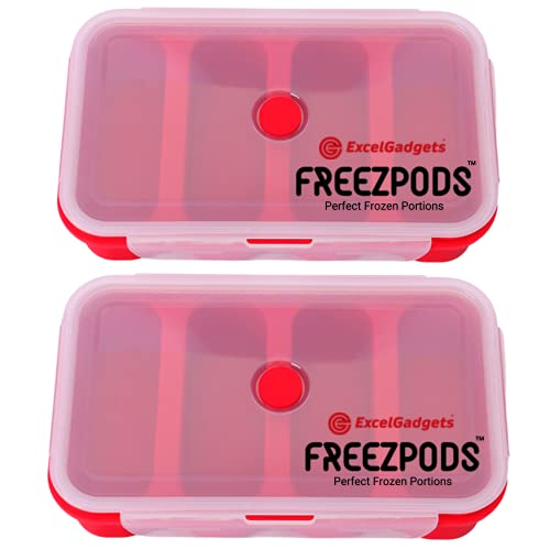 ExcelGadgets Soup Cubes Cookie Molds Silicone Storage Containers,【 2 Pack 】of 1-Cup with Sealable Lids - Makes 8 Perfect 1-Cup Soup Freezer Containers, Broth, Cheese, Butter, 2 Pack (Red)