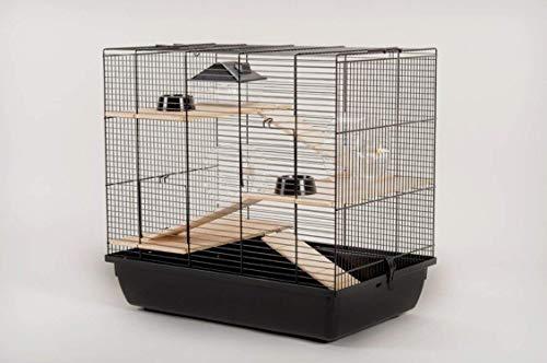 Cage pour hamster Cage pour souris Cage pour rongeurs 59 x 38 x 55 cm, noire, avec accessoires