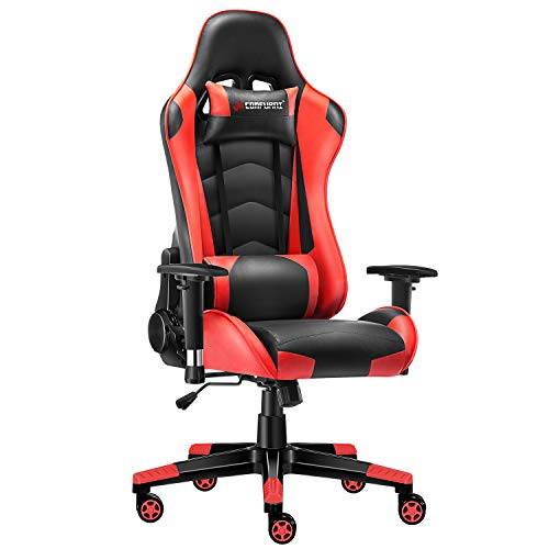 JL Comfurni Gaming Chair Computer Chairs Ergonomic Swivel Office PC Desk Chair Heavy Duty Reclining High Back with Lumbar Cushion (Black&Red)