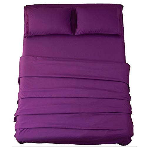 Sonoro Kate Sheets Super Soft Microfiber 1800 Thread Count 18 Inch Deep Pocket 4 Piece Queen Size Purple