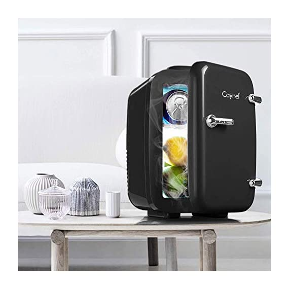 CAYNEL Mini Fridge Cooler and Warmer, (4Liter / 6Can) Portable Compact Personal Fridge, AC/DC Thermoelectric System, 100… 3 COMPACT & PORTABLE: Caynel cooler/warmer mini fridge chills 6 12oz. cans and is perfectly portable for personal use. It's small size, sleek design and convenient carry handle, makes it easy to take the mini fridge with you on the go! 100 PCs cute stickers help you customize your own fridge , make your personality shine! COOLING & WARMING: the Thermoelectric System in the Caynel mini fridge allows for easy switching from beverage cooler to food warmer! Easily choose to chill up to 45ºF or warm up to 140ºF - with the flip of a switch. Well insulated interior holds temperature even after unplugged. GO GREEN!: the unique semiconductor operation is energy-efficient, ultra-quiet and 100% environmentally friendly. 100% Freon-Free and ETL approved with advanced safety technology for long lasting durability. Includes plugs for both 110V (AC) standard home outlets and 12V car chargers. Use at home or on the road!