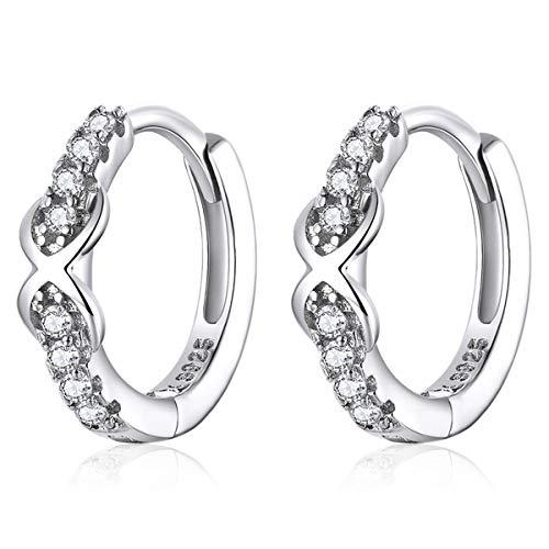Qings Kleine Ohrringe mit Unendlichkeits Symbol, 925er Sterling Silber Huggie Creolen mit Bling Zirkonias, Reifen Schmuck Geschenk für Frauen Mädchen Hochzeit Geburtstag