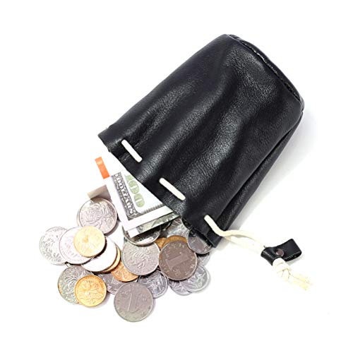 Drawstring Pouch - Leather Drawstring Pouch Change Coins Purse for Small Items Bank Card Light Black