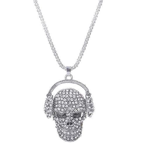 Collar Colgante Joyería Collar De Calavera con Auriculares De Cristal para Mujeres...