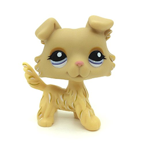 wdd Littlest Pet Shop Rare Yellow Collie Dog Puppy Blue Eyes LPS Toy #1194