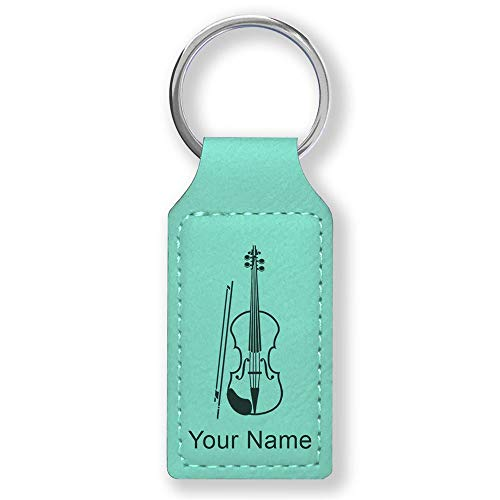 Rectangle Keychain, Violin, Personalized Engraving Included (Teal)