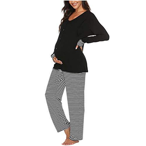 Umstandspyjama Damen Stillpyjama Langarm Shirt mit Knöpfen und Gestreifte Hose Zweiteilige Still-Schlafanzug Stillfunktion Umstandsmode Pyjama Sets/M