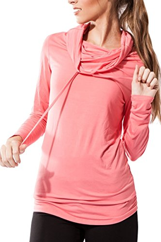 Sternitz Camisa Fitness para Mujer, Bhakti Hoodie, Ideal para Hacer Pilates, Yoga y Cualquier Deporte, Tela de bambú, ecológica y Suave. Cuello Largo. (S, Rosado)