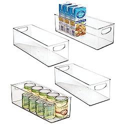 4 clear acrylic organizing bins with handles