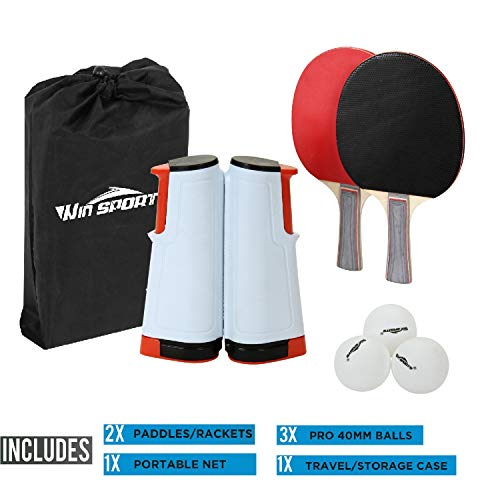 Best Prices! Win SPORTS Ping Pong Paddle Set with Retractable Net|Set of Play Anywhere Ping Pong Net...