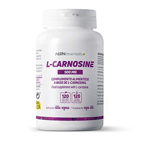 L-Carnosina de HSN | 500mg | Antioxidante y Retrasa el Envejecimiento Prematuro | Combinación de los aminoácidos Beta-Alanina y L-Histidina | Vegano, Sin Gluten, Sin Lactosa, 120 Cápsulas Vegetales