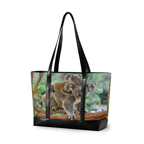 CPYang Laptop-Tasche, 39,6 cm (15,6 Zoll), Waldbaum, Tiere, Koala, Leinen, Schultertasche, große Handtasche, für Damen, Computer, Tote Bag für Arbeit, Business, Schule, Reisen