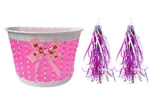 Qiuhome Kids Bike Basket, Front Handlebar Bicycle Basket with 1 Pair Bike Streamers Bike Accessories for Girls