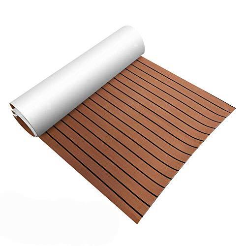 TBVECHI Teak Sheet 106''x35'' EVA Foam Teak Sheet Marine Flooring Yacht Boat Decking Self-Adhesive Pad