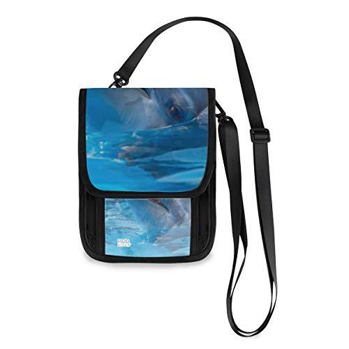 XiangHeFu Münzetasche Brieftasche Geldbörse Große Kapazität Damen 3 Delfine Swimmingpool Blue Water Phone Bag Kartenhalter