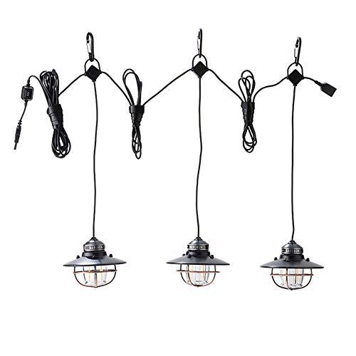 YSSMAO Cadena de luz USB Linterna multifunción Retro IPX4 iluminación Impermeable 100LM Regulable al Aire Libre Tienda de campaña iluminación luz de Campamento,3 Heads