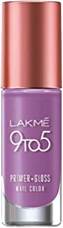 Lakme 9 to 5 Primer + Gloss Nail Colour, Lilac Link, 6 ml
