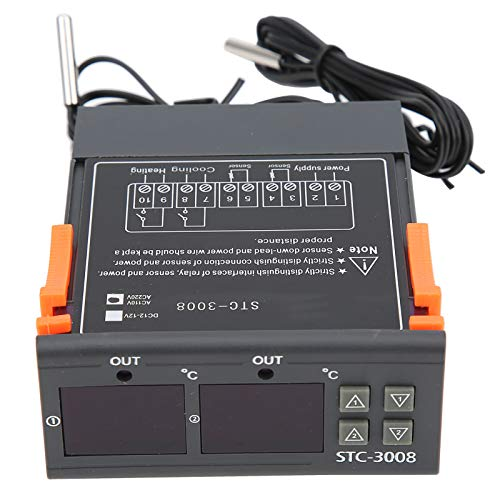 EVTSCAN Último controlador de termostato de temperatura digital con sensor de sonda NTC dual STC-3008 de pantalla dual (110-220 V)(110-220V)