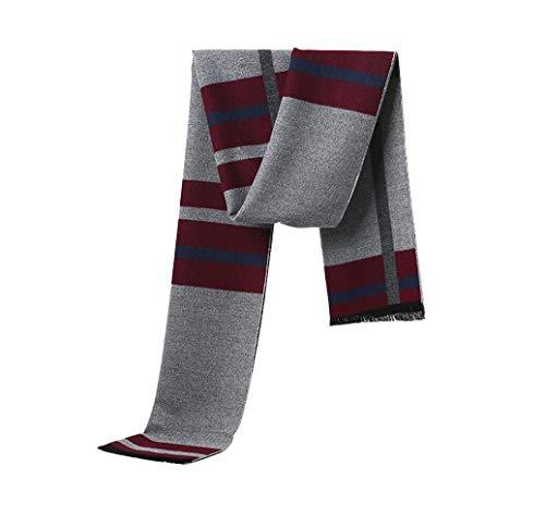 Irypulse Hombre Bufanda cálida de otoño e invierno para de estilo clásico y elegante de Soft largo de la borla tela escocesa de rayas de cuadros con flecos la cachemira Suave Caliente bufanda