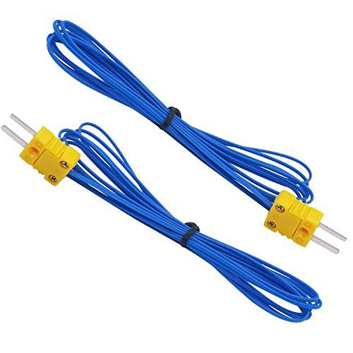 Taiss/2 Stück K-Type Mini-Steckverbinder Thermoelement Temperaturfühler Messbereich -50~250 ° C;Kabellänge: 2 Meter