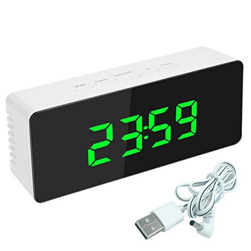 SNAWEN Reloj Despertador Digital Led, Relojes de Noche con Espejo Digital con BotóN, con Calendario de Temperatura USB FuncióN de RepeticióN Reloj Despertador para NiñOs,Verde