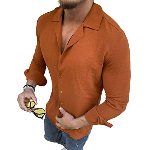Minetom Camisa de Hombres Manga Larga Slim Fit Casual Formal Negocio Trabajo Blusa Camiseta Color Sólido Cuello en V Shirt Top C Naranja L