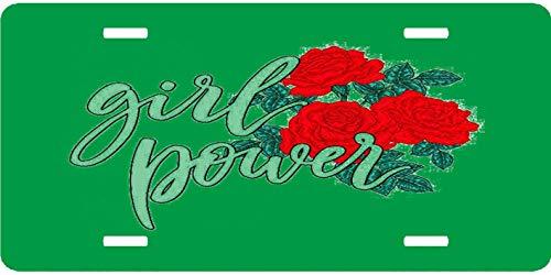 EADFH Girl Power Red Roses Vintage Retro Metal Sign Wall Plaque Neuheit Auto vorne Nummernschild Tag Zeichen