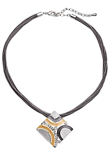 Perlkönig Kette Halskette | Damen Frauen | Silber Schwarz Gelb Farben | Quadratischer Anhänger | Nickelabgabefrei