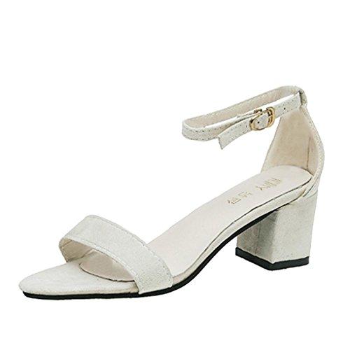 Zapatos de tacón Altas Ancho para Mujer Verano 2018 PAOLIAN Fiesta Zapatos de Plataforma de Boca de Pescado Moda Cuña Sandalias de Vestir con Hebilla Tira de Tobillo Clásicos Boda (38, Beige)