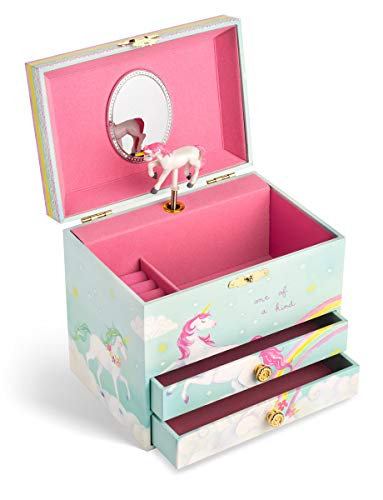 Jewelkeeper Unicorn and Rainbow Musical Jewelry Box with 2 Pullout Drawers, The Unicorn Tune 6