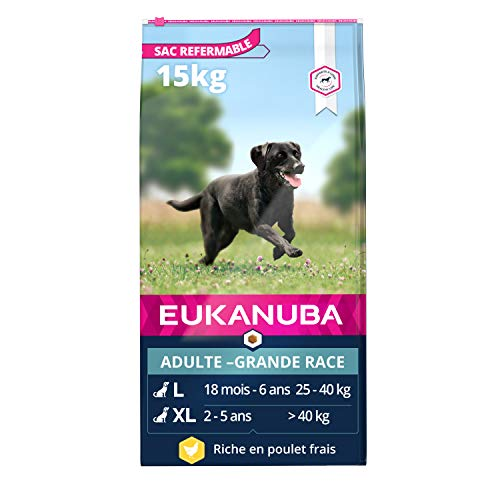 Eukanuba - Croquettes Premium Chiens Adultes Grandes Races - 100% Complète et Equilibrée - Riche en Poulet Frais - Sans Protéines Végétales Cachées, OGM, Conservateurs ou Arôme Artificiel - 15kg