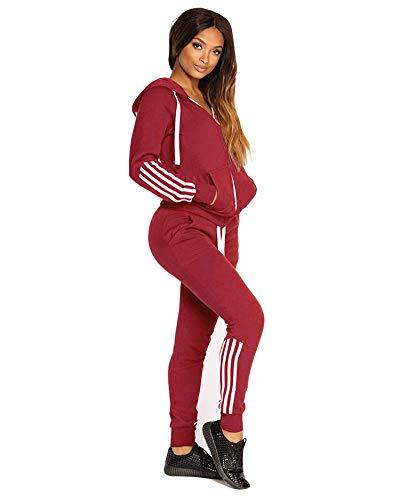 Yesgirl Mujer Pantalones + Tops Conjunto De Dos Piezas para Mujer Raya Trajes De Chándal Sudadera con Capucha De Manga Larga Sudadera Y Largos Joggers Suit Lounge Sweatsuit Rojo L