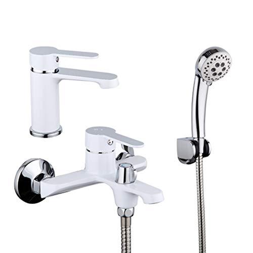 L.J.JZDY Conjunto de Ducha Tarjetas de baño de latón Blanco Plato de baño montado en la Pared con Cuenca Grifo Mezclador Mezclador Conjunto de Ducha Grifo Baño