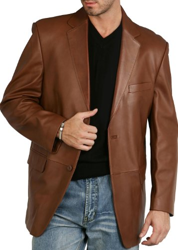 BGSD Men's Richard Classic 2-Button Lambskin Leather Blazer Cognac Medium
