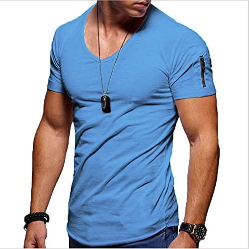Camiseta Hombre Básica con Cuello En V Color Sólido Hombre Camisa Deportiva Verano Slim Fit Stretch Hombre Manga Corta Sport Casual Transpirable Hombre Streetwear C-Blue 1 M