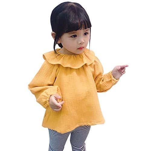 Gyratedream lente herfst casual mode baby meisje dep print lange mouwen hemd kinderen blouse 1-3 jaar kinderen X-Large geel