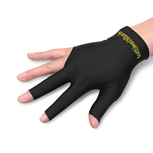 Scott Edward 10pcs 3 Open Finger Billiard Gloves Pool Cue Gloves Spandex Lycra for Left Hand/Right Hand, Men/Women,4 Colors (Black Right Gloves)