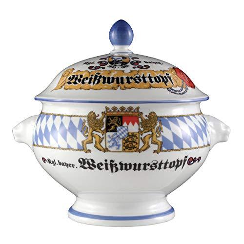 Seltmann Weiden Compact Bayern Löwenkopfterrine mit Deckel 2,1 L, Porzellan, Blau/Weiß/Gelb/Rot, 23.8 x 19.4 x 21 cm