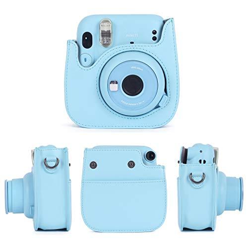 Leebotree Sofortbildkameras Tasche Kompatibel mit Instax Mini 11 Sofortbildkamera aus Weichem Kunstleder mit Schulterriemen und Tasche (Himmel Blau)