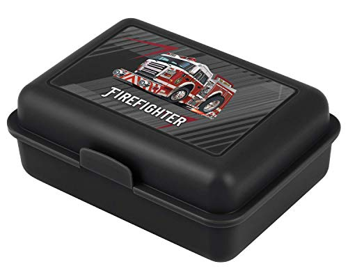 Baagl Brotdose Kinder für Schule – Lunchbox für Jungen, Kindergarten – Jausenbox, Brotzeitbox, Brotbox, Snackbox (Feuerwehr)