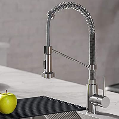 Kraus KPF-1610SFSMB Bolden 18-Inch Commercial Kitchen Faucet with Dual Function Pull-Down Sprayhead in all-Brite Finish, Spot Free Stainless Steel/Matte Black