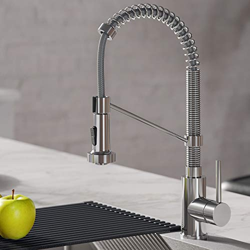 Kraus KPF-1610CH Bolden 18-Inch Commercial Kitchen Faucet with Dual Function Pull-Down Sprayhead in all-Brite Finish, 18 inch, Chrome