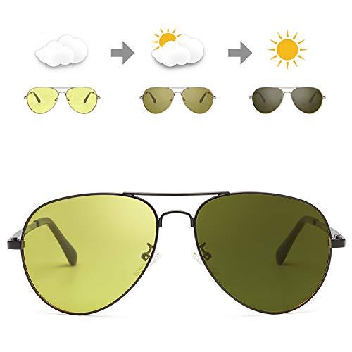 SODQW Occhiali Da Sole Polarizzati Fotocromatici Da Notturni per Uomo 100% UVA UVB Protezione Metallo Cornice Ultra Leggero per Sportivi Guida (Nero/Giallo(fotocromatici))