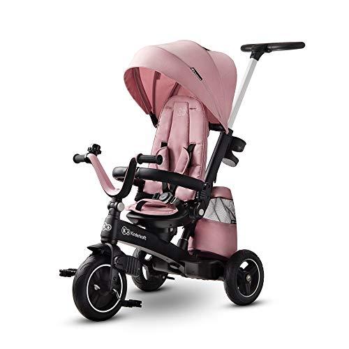 Kinderkraft Triciclo Evolutivo EASYTWIST, Plegable, Asiento Giratorio 360 Grados, 9 Meses a 5 Años, Rosa