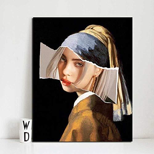 NOBRAND Arte de la Lona Pintura Chica Divertida con un Pendiente de Perlas Billie Eilish Cuadros de Pared para Sala de Estar Cartel Decoración Abstracta sin Marco