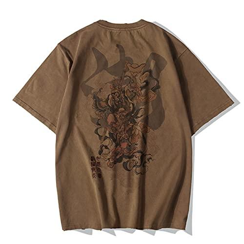 WYLYSD Bordado Retro Lavado Estampado Antiguo Camiseta De Manga Corta Chinoiserie De Hombre Tamaño Suelto Media Manga Calle -Marrón