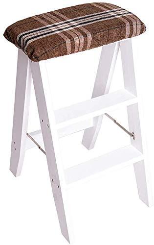 Yxsd vouwladder, ladder / 3 strepen, houten ladder, spons, kruk, uittrekbaar, 150 kg, wit