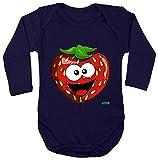 Hariz - Body de manga larga para bebé, diseño de fresas, frutas, multicolor, incluye tarjeta de regalo azul oscuro 74-80