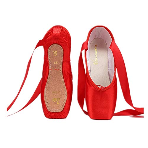 Nexete Professional Vanassa Ballet Pointe Shoes Satin Dance Slipper Flats with Toe Pad(10, Red)