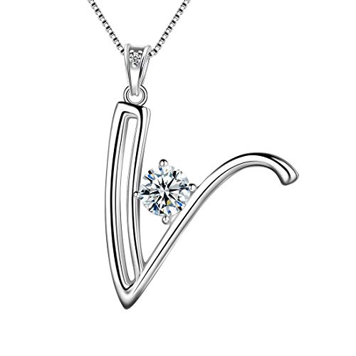 Aurora Tears Letter V Necklaces 925 Sterling Silver Cubic Zirconia Alphabet Initial V Pendant Jewellery Gifts for Women and Girls DP0166V